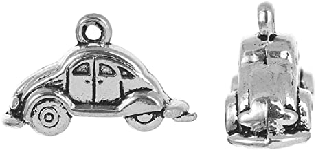 PEPPERLONELY 20pc Antiqued Silver Alloy 3D Travel Car Charms Pendants 24x9mm (1