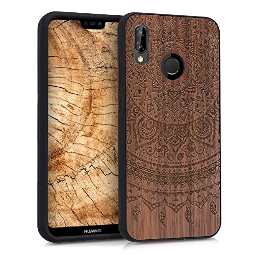 kwmobile Hülle kompatibel mit Huawei P20 Lite - Handyhülle Holz TPU Cover - Indische Sonne Dunkelbraun