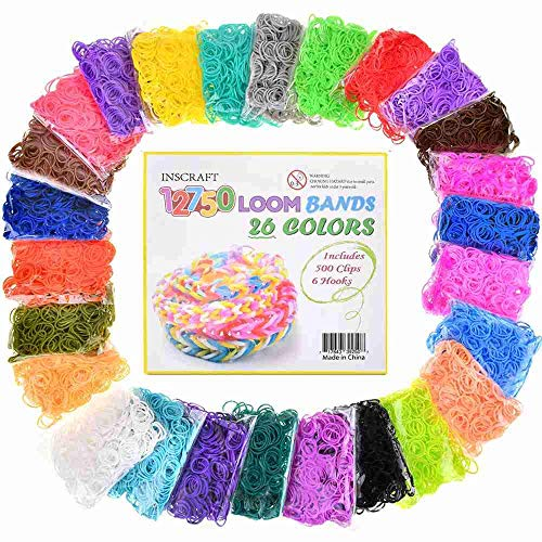Inscraft Rubber Bands Refill Kit , 12750+ Premium Loom Bands in 26 Colors with 500 Clips ,6 Hooks for Kids Bracelet Weaving Kit DIY Crafting