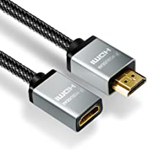 HDMI Extension Cable, POSUGEAR Nylon Braided HDMI Male to Female Lead (4K@60Hz) compatible with HDMI 2.0a/b, 1.4a (Ultra HD 2160P, 3D, Full HD 1080P, HDR, ARC, Ethernet)-Gold Plated (1M)