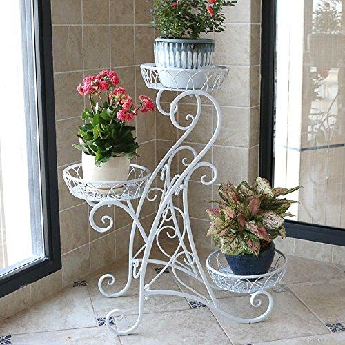 Yu Chuang Xin Plancher de plante décorative en métal de trois étages plancher de salon de style européen Salon de pots de fleur de suspension présentoir noir blanc bronze (Couleur : Blanc)