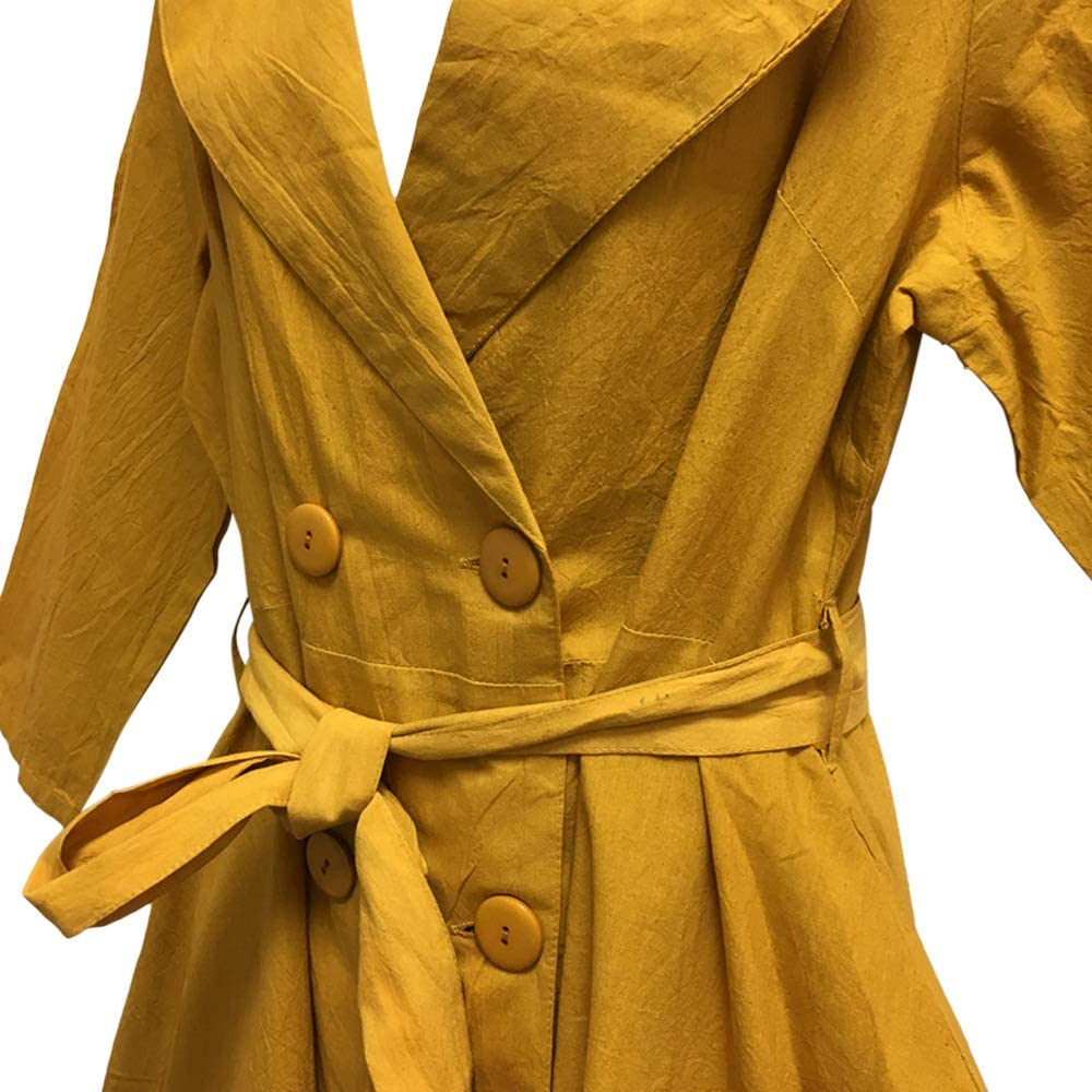 Women's Hi Low Cut Maxi Trench Jacket Cotton Collared Casual Coat Gold