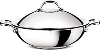 Lagostina ACCADEMIA LAGOFUSION Wok 36 cm (6,9L) + couvercle Inox 18/10 Tous feux dont induction Poignée rivetée robuste It...