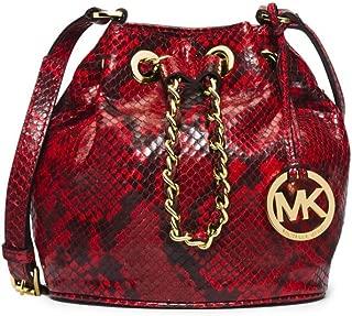 Michael Kors Frankie Embossed Python Leather Small Drawstring Crossbody Bag