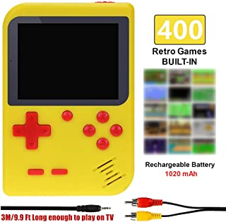 TAPDRA Handheld Game Console, Retro Game Console with 400 Classic Games 3.0 inch Screen Portable Game Console, Good Gifts for Kids, Xmas Gift (Yellow)