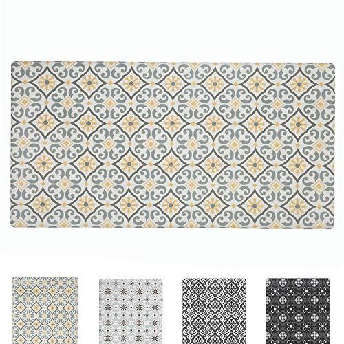 QSY Home Kitchen Anti Fatigue Floor Mats 20x39x1/2-Inch Comfort Standing Rugs for Laundry Bath Room Pvc Foam Bevel Edges Non-Slip Waterproof Mats, Grey/Yellow