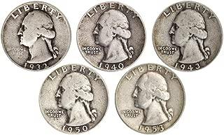 Count of 5-90% Silver Washington Quarters Fine