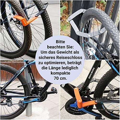 KOHLBURG sehr Leichtes & kleines Faltschloss – 690g leicht & 70cm lang – sicheres Fahrradschloss aus gehärteten Spezialstahl für E-Bike & Fahrrad - 2