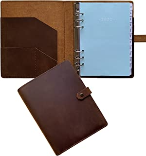 """$35 » 2022 Weekly Planner - Genuine Leather Binder Planner for Men and Women, Inner Pockets and Pen Holder, Refillable, 7""""x9"""""""