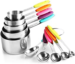 zanmini Stainless Steel Measuring Cups and Spoons Set of 10, 5 Measuring Cups and 5 Measuring Spoons with Colored Silicone...