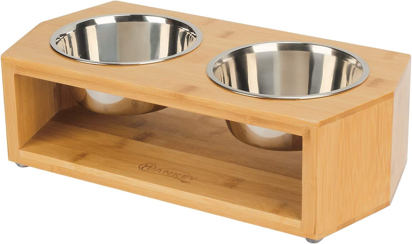 HANKEY Raised Pet Bowls for Brand All items in the store new OOD Medium Bamboo Elevated Dog