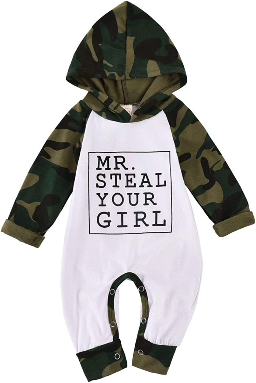 Newborn Baby Boy Clothes Letter Print Romper Long Sleeve Camouflage Outfits Set