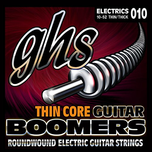 GHS Strings TC-GBTNT Thin Core Boomers, Nickel-Plated Electric Guitar Strings, Thick n' Thin (.010-.052)