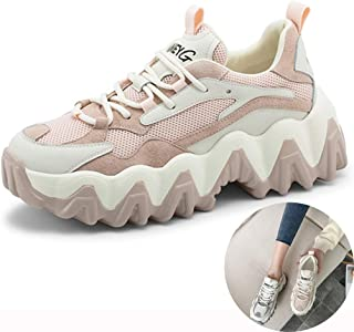 Running Shoes Big Wave Ladies Sneakers Breathable Mesh Walking Shoes Spring Platform Casual Shoes (Color : Pink, Size : 7)