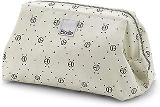 Elodie Details Tvättväska/toalettväska dragkedja & gå in kanvas med stor öppning - monogramtryck, vit