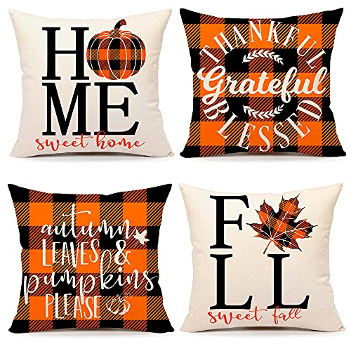 4TH Emotion Fall Decor Pillow Covers 18x18 Set of 4 Thanksgiving Buffalo Check Farmhouse Decorations Orange Black Pumpkin Maple Leaves Outdoor Decorative Throw Cushion Case for Home Couch TH025-18