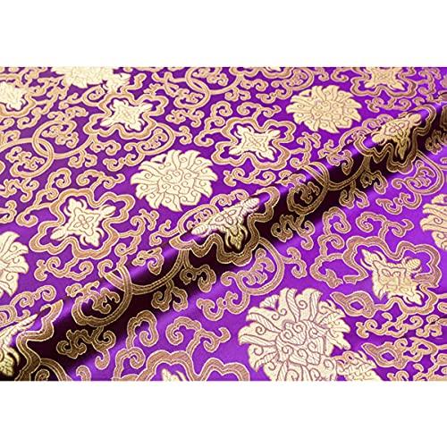 XIAOHUAHUA Tejido De Seda Floral, Cultura Oriental De Loto Natural, Tejido Decorativo Adecuado para Decoración De Interiores Y Decoración del Hogar,B