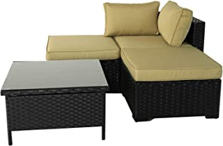 VALITA Patio PE Wicker Furniture Set 4 Pieces Outdoor Black Rattan Sectional Conversation Sofa Chair with Olive Green Cushions