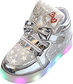 KONFA Teen Baby Girls Boys Anti-slip Luminous Stars Shoes,for 1-6 Years old,Kids Stylish LED Lights Up Sneakers