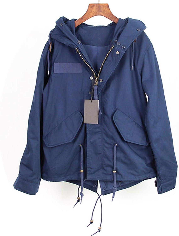 EnjoySexy Parka Winter Jacket Coat Women Natural Raccoon Fur Collar Hooded Warm Soft Faux Fur Liner