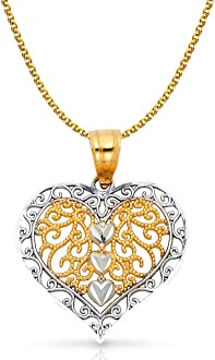14K Two Tone Gold Fancy Inside Heart Charm Pendant with 1.5mm Flat Open Wheat Chain Necklace