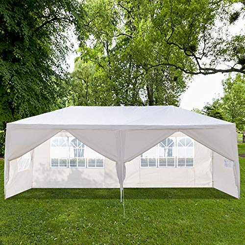 20 x 10 x 8.5ft Outdoor Patio Canopy, Heavy Duty Gazebos, Sunshades Shelter Waterproof Commercial Tent for Events, Wedding, Party with 5 Removable Sidewalls (10 x 20 x 8.5 ft, White 6 Sides Wall)