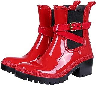 Women's Platform Rain Boots Chunky Heel Waterproof Adjustable-Strap Ankle Boots
