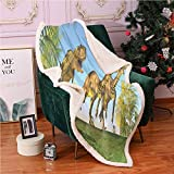 SeptSonne Jurassic Sherpa Blankets,2 Massospondylus Running for Their Lives Yangchuanosaurus Hunting Lightweight Fluffy Flannel,for Couch Blankets(40x50 Inches,Deep Sky Blue Multicolor)