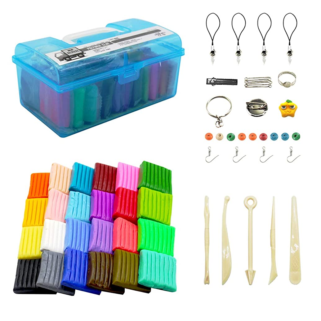 Polymer Clay Soft Craft Oven Bake Modelling Clay Kit Portable Suitcase with Tools and Accessories 24 Colored Blocks DIY Clay for Children,1.37LB