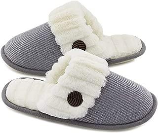 Women's Cute Knit House Slippers, Warm Memory Foam Cotton, Non-Slip and Mute,Gray,L