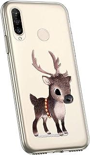 Jinghuash Kompatibel med Huawei P30 Lite fodral [Julserien] Skyddshölje transparent silikon jul jul mönster ultra tunn mju...
