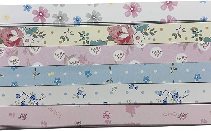 Flowers Floral Pearlescent Origami Lucky Star Paper Strips Star Folding DIY Pack of 50 Strips