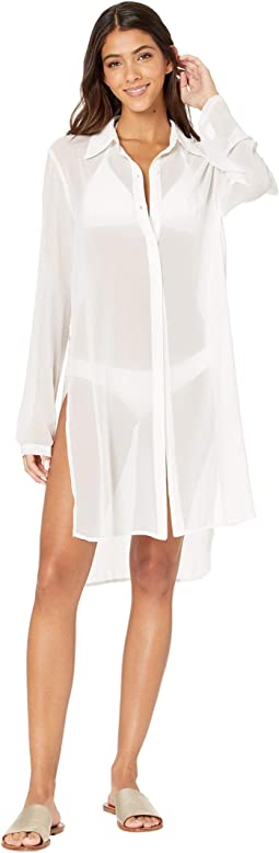 Long Shirt Cover-Up w/ Tie Front Detail