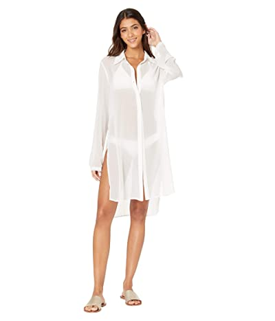 Carmen Marc Valvo Long Shirt Cover-Up w/ Tie Front Detail (White) Women