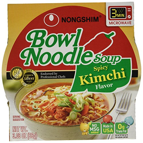 NongShim Bowl Spicy Kimchi Noodle Soup, 3.03 Ounce (Pack of 6)