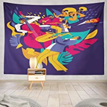 Deronge Piano Art Tapestry, Summer Music Festival Poster Jazz Abstract Band Orchestra Tapestry Wall Hanging Decor 50x60 Inch Wall Art Tapestry for Men Bedroom Home Decor Tapestry Dorm,Summer Music