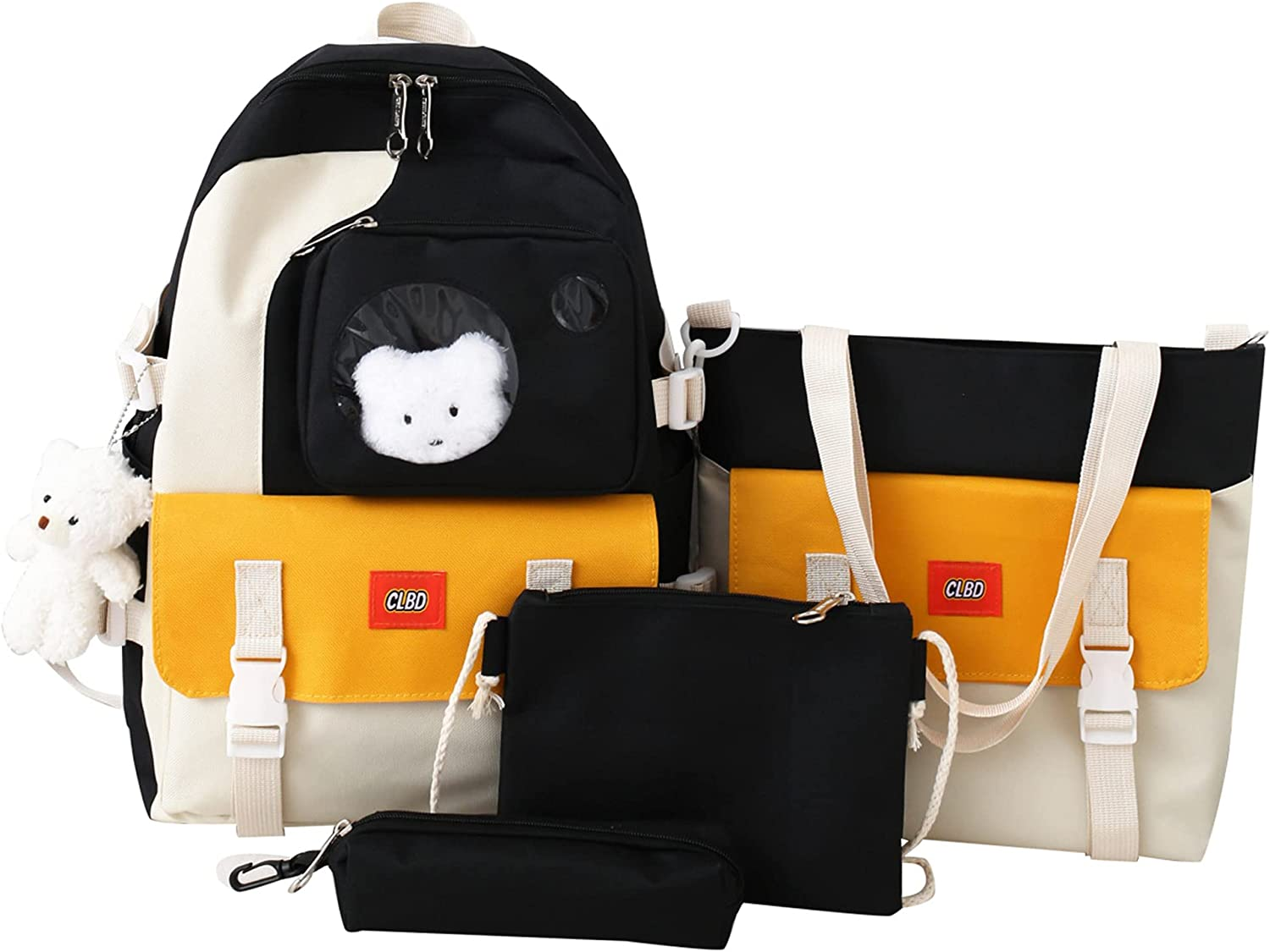 4pcs School Bags Set Kawaii Denver Mall Backpacks Lunch with Bag Ranking integrated 1st place Pendant Pe