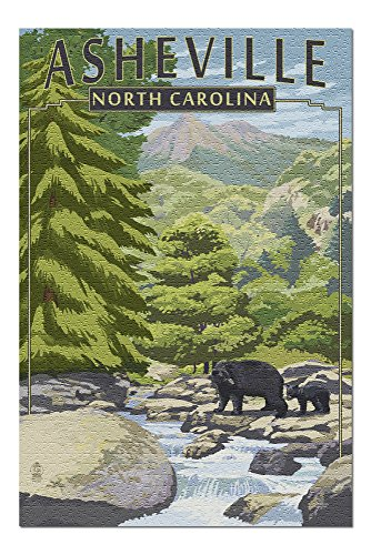 Asheville, North Carolina - Black Bears and Stream 54041 (19x27 Premium 1000 Piece Jigsaw Puzzle for Adults, Made in USA!)