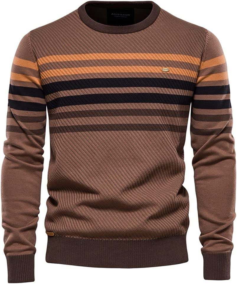GPPZM Striped Sweater Men Casual O-Neck Cotton Pullovers Knitted Sweater Man Winter Sweaters (Color : D, Size : M)