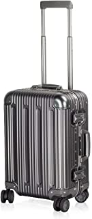 Aluminum Luggage Carry On Spinner Hard Shell Suitcase Lightweight Metal Suitcases (Grey, 20 Inch)