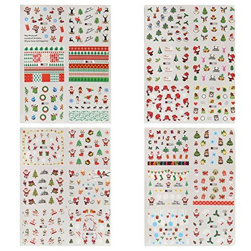 Naler 24 Hojas Pequeñas Pegatinas Uñas Navidad Etiquetas Uñas Decorativas al Agua Etiquetas Engomadas del Clavo...