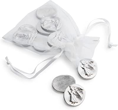 DANFORTH – Vilmain Pocket Angel Tokens/Coins, Pewter, Made in The USA, Gift Bag (Pack of 10)