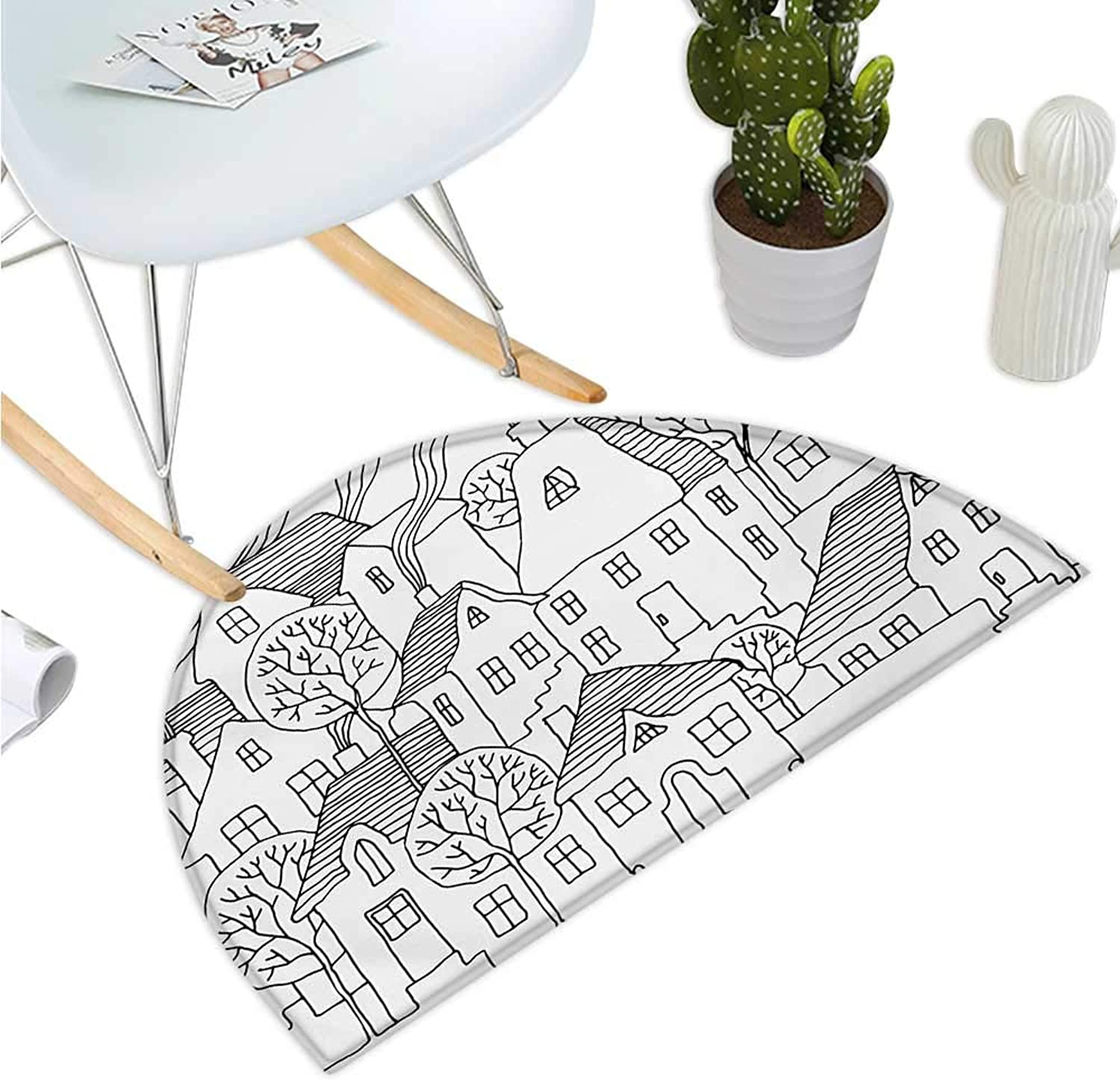 Sketchy Semicircular Cushion Cartoon Design House Village with Stripes Hand Drawn Images Artwork Print Entry Door Mat H 35.4  xD 53.1  Black and White