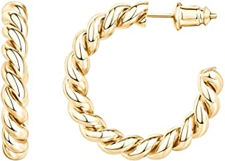 14K Gold Plated 925 Sterling Silver Twisted Rope Round...