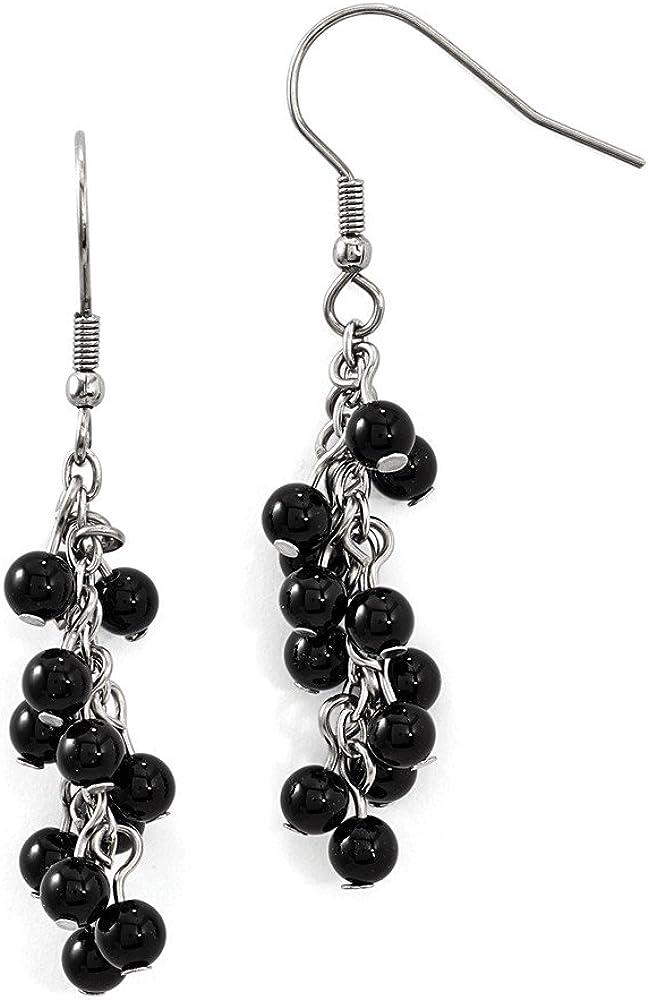 Solid Stainless Steel Black Large discharge sale Agate Shepherd Earrings Dangle Hook Max 49% OFF
