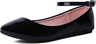 EMERCLY Women's Classic Round Toe Ankle Strap Ballet Flat Shoes