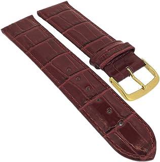 Minott para Banda Reloj de Pulsera 14mm–30mm   Piel Burdeos con Costura y cocodrilo en Relieve 32285s/G, Puente Ancho:...