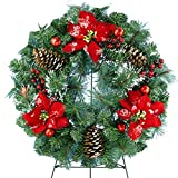 Sympathy Silks Christmas Memorial-Wreath Decoration - Frosted Wreath with Red Poinsettia and Red Ornaments on 30 Inch Easel - Artificial Greenery Wreath - Fade Resistant