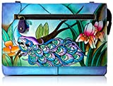 Anna by Anuschka Women's Genuine Leather Organizer Wallet On a String, Hand-Painted Original Artwork - Midnight Peacock