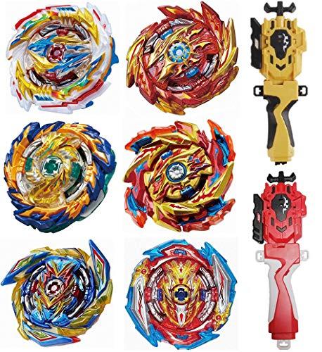 FIFTHMIN 6 Pcs Gyros + 2 Pcs Launchers + Stickers Bey Battle Burst Set, Battling Tops, Kids Boys Birthday Christmas Party Gift Idea